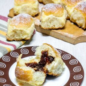Home-made rolls filled with cherry jam