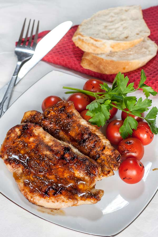 Delicious grilled chicken breast with balsamic sauce